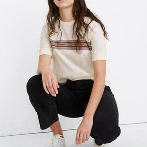 Madewell Recycled Cotton Placed-Stripe Relaxed Tee